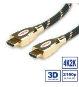 Roline HDMI Kábel  M/M 2m, High Speed+Ethernet UHD, 4k, Gold,